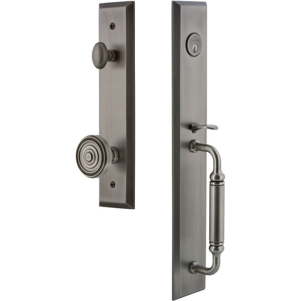 """Grandeur FAVCGRSOL_ESET_234 Fifth Avenue Solid Brass Rose Keyed Entry Single Cylinder """"C"""" Grip Handleset with Soleil Knob and"""