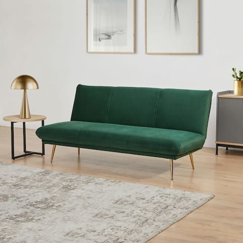 Abbyson Elliston 63 Inch Velvet Armless Sleeper Sofa