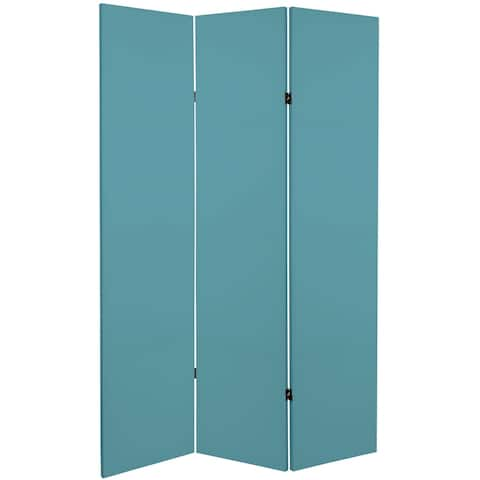 6 ft. Tall Double Sided Teal Canvas Room Divider