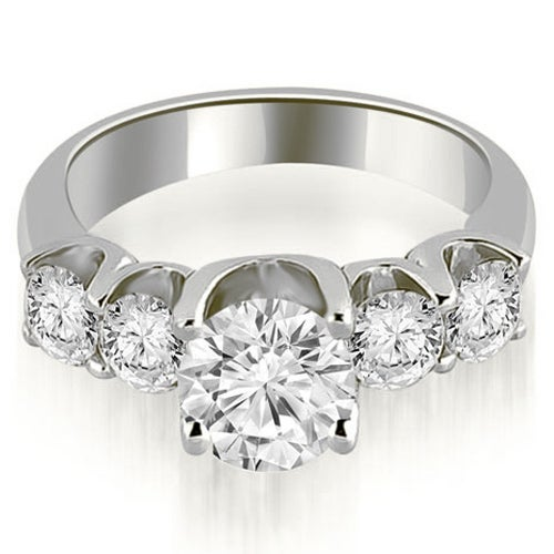 1.75 cttw. 14K White Gold Five Stone Floating Round Cut Diamond Engagement Ring