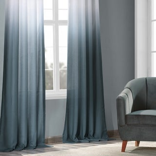 Exclusive Fabrics Ombre Faux Linen Semi Sheer Curtain