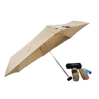 Rain Pro Compact Tan Glove Box Micro Umbrella with Zip Up Case