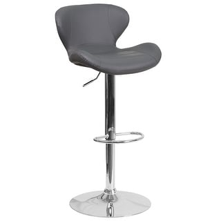 """Link to 42.25"""" Black Adjustable Height Barstool with Curved Back and Chrome Base Similar Items in As Is"""