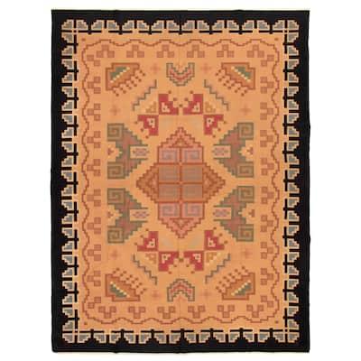 ECARPETGALLERY Flat-weave Ankara FW Tan Wool Kilim - 8'7 x 11'5