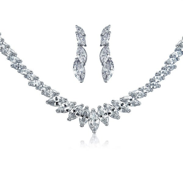 Bridal Prom Collar Statement Necklace Earring Set For Wedding Women Bride Marquise Cubic Zirconia CZ Silver