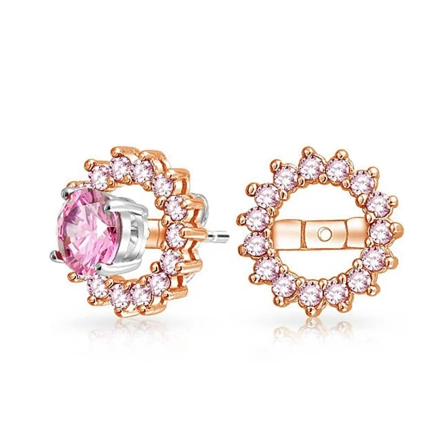 Cz Ear Jacket Stud Rose Gold Plated Sterling Earring Not Included Overstock 17989373
