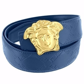 Medusa Face Buckle Blue Leather Belt Gold Tone 46 Inch Mens 37mm - 46 inch