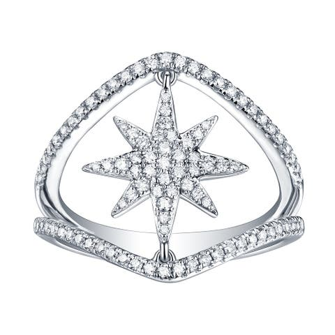 14kt White Gold Pave Diamond Star Shape Ring Women Jewelry With Jewelry Box