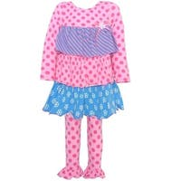 Baby Girls Pink Blue Dot Stripe Tiered 2 Pc Legging Outfit 0/3M