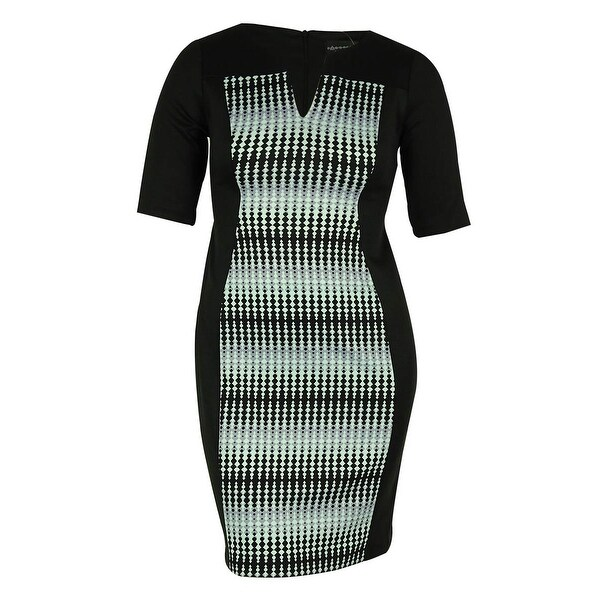 Connected Women's Split Neck Scuba Dress - Mint