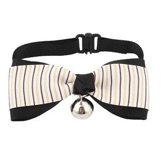 Pet Puppy Stripe Pattern Bowknot Adjustable Bowtie Necktie Collar Coffee Color