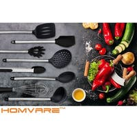 Homvare 8 Piece Stainless Steel Silicone Kitchen Cooking Utensil Set-Black - Black - Large