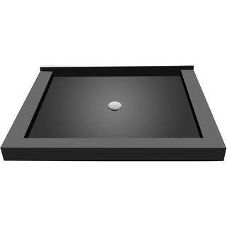 "Tile Redi P4872CTC-PVC  Redi Base 72"" X 48"" Single Wall Shower Pan with Triple Curb and 2"" Center Drain - Polished Chrome"