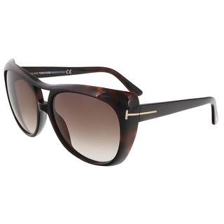 Tom Ford TF 294/S 52F Claudette Brown Full Rim Oversized Aviator Sunglasses