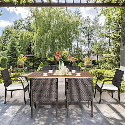 7PCS Outdoor Rattan Dining Chair and Table Set with Umbrella Hole