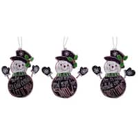 """Pack of 12 Black and White Snowmen with Holiday Sayings Christmas Ornaments 9.5"""""""