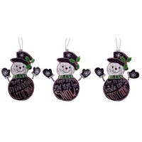 Pack of 12 Black and White Snowmen with Holiday Sayings Christmas Ornaments 9.5""