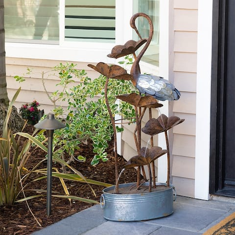 Alpine 45-Inch Outdoor 5-Tier Flamingo Water Fountain, Brown