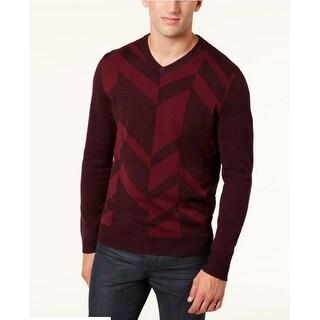 Alfani Men's Broken Chevron Sweater Port Size Medium - Red - M