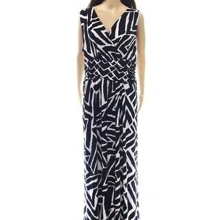 INC NEW Black Womens Size Medium M Printed Geo Empire Waist Dress