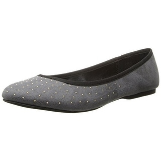 Wild Pair Womens Morton Faux Suede Studded Flats