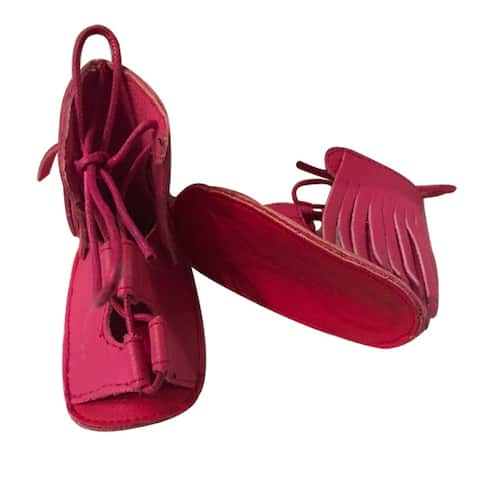 Baby Girls Hot Pink Red Soft Sole Faux Leather Gladiator Strappy Sandals 3-18M - 3-6 Months