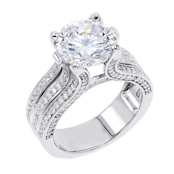 4.5 ct Round-Cut Cubic Zirconia Solitaire Ring, Sterling Silver. Opens flyout.