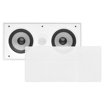 In-Wall / In-Ceiling Dual 5.25'' Center Channel Sound System, 2-Way, Flush Mount, White, Single Speaker