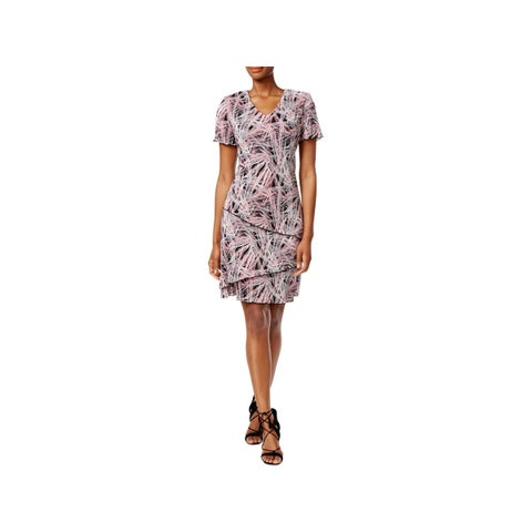Connected Apparel Womens Cocktail Dress Textured Tiered
