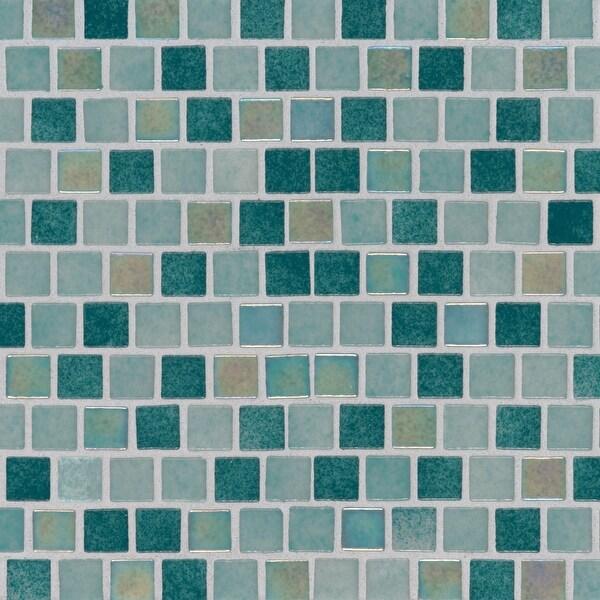 "MSI SMOT-GLSB-CAR4MM Caribbean - 1"" Square Mosaic Tile - Glossy Glass Visual - Sold by Carton (19.4 SF/Carton)"