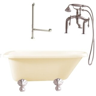 """Giagni LA3 Augusta 54-3/10"""" Free Standing Soaking Tub Package - Includes Tub, Tub Feet, Deck Mounted Tub Filler Faucet, and"""