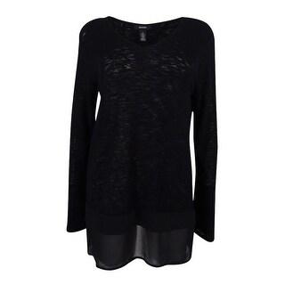 Alfani Women's V-Neck Sweater Top (PS, Deep Black) - Deep Black - ps