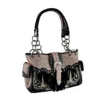 Western Style Rhinestone Buckle Stud Fringe Concealed Carry Purse