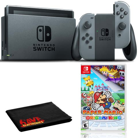 Nintendo Switch (Gray) Bundle with Paper Mario Origami King + 6Ave - Black