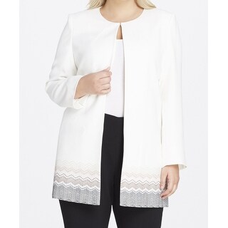 Tahari by ASL NEW White Womens Size 16W Plus Printed Ponte Knit Jacket