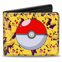 Stacked Pikachu Poses Pok Ball Purple Bi Fold Wallet - One Size Fits most