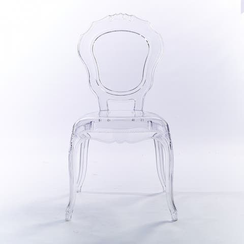 Stacking Transparent Crystal Designer Molded Plastic Side Dining Chairs For Desk Accent Bedroom Kitchen Indoor Outdoor