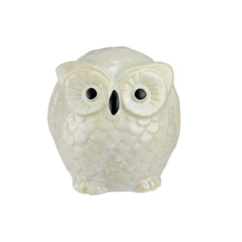 "4.25"" Pudgy Pals Wide Eyed Beige and Cream Owl Table Top Decorative Figure - Brown"