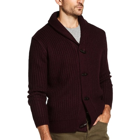 Weatherproof Mens Cardigan Sweater Crochet Shawl Collar