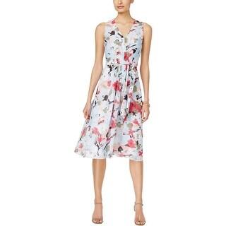 Anne Klein Womens Casual Dress Chiffon Floral Print - 6