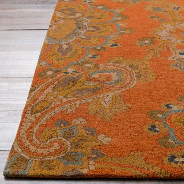 Hand Tufted Wool Transitional Paisley Area Rug Overstock 8900364 9 X 13 Teal Brown