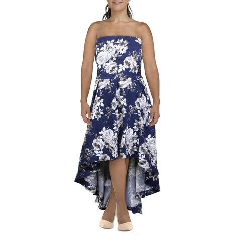 Speechless Womens Formal Dress Floral Hi-Low - Navy/Grey