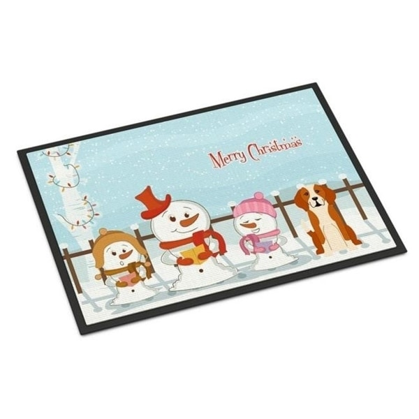 Carolines Treasures BB2441JMAT Merry Christmas Carolers English Foxhound Indoor or Outdoor Mat 24 x 0.25 x 36 in.