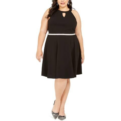 Emerald Sundae Plus Women's Rhinestone Fit & Flare Dress, Black, 3X