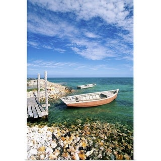 """""""Fishing boats by shore"""" Poster Print"""