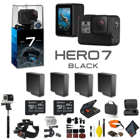 GoPro HERO7 Black Action Camera With 3 Extra Battery, 2 64GB Memory Card and More - 4 Battery Bundle