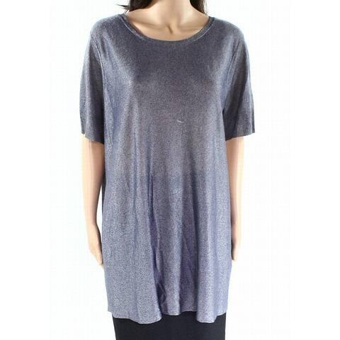 Eileen Fisher Blue Womens Size Small S Metallic Rib-Trim Knit Top