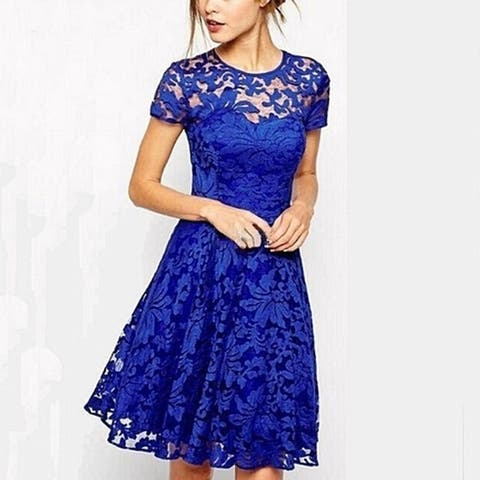 Women Lace Short Sleeve Dress