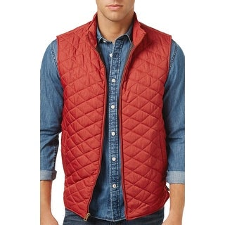 Weatherproof Vintage Red Heather Zip Front Quilted Vest Large L