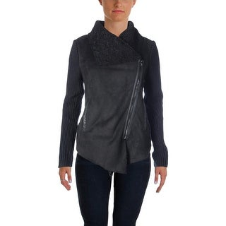 Blank NYC Womens Jacket Knit Faux Suede Panel